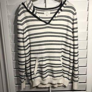 Lou & Grey V-Neck Striped Hoodie
